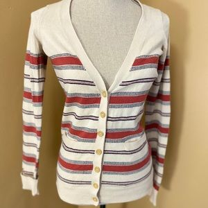 Anthropologie Wool Blend Small Striped Cardigan